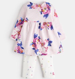 Joules Christina Dress & Legging Pink Marl Granny Floral