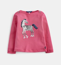 Joules Esme Top Deep Pink Roller Horse Sequins