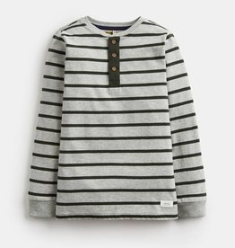 Joules Henley Half Button Placket Top Grey Stripe