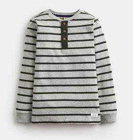 Joules Henley Half Button Placket Top Grey Stripe