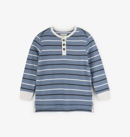 Hatley Carbon Blue Striped Waffle Henley