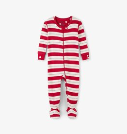 Hatley Metallic Stripe Footed Coverall Chex Red