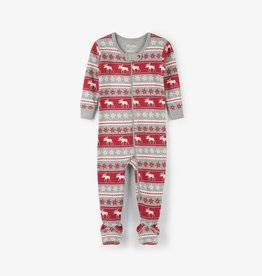 Hatley Fair Isle Moose Footed Coverall Red Hibiscus