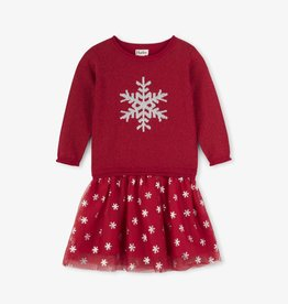 Hatley Glitter Snowflake Drop Waist Dress Red Hibiscus