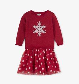 Hatley Glitter Snowflake Drop Waist Dress Red Hibiscus