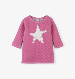 Hatley Pink Star Quilted Baby Dress Gray