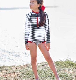 Ruffle Butts Girls' Navy Stripe LS One Piece Rash Guard
