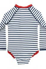 Ruffle Butts Girls' Navy Stripe LS One Piece Rash Guard