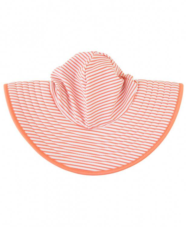 Ruffle Butts Coral Stripe Reversible Swim Hat