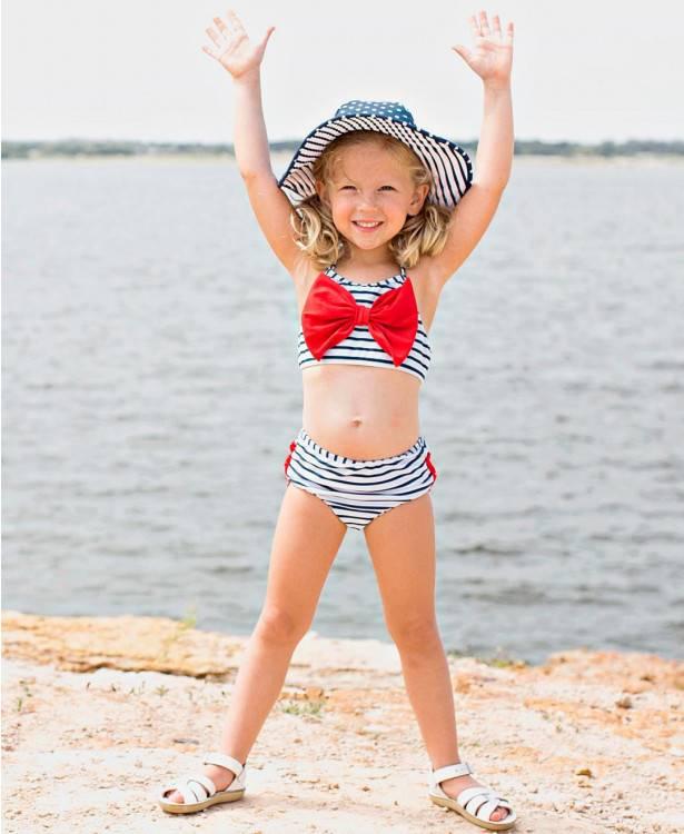 Ruffle Butts Navy Stripe Bow Bikini