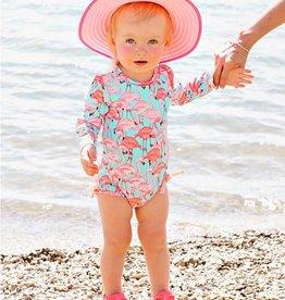 Ruffle Butts Fab Flamingo One Piece Rash Guard Swimsuit
