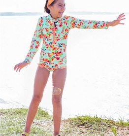 Ruffle Butts Painted Flowers LS Rash Guard One Piece