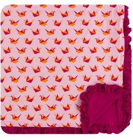 Kickee Pants Print Ruffle Toddler Blanket Lotus Origami Crane