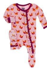 Kickee Pants M.Ruffle Footie Snaps Lotus Origami Crane