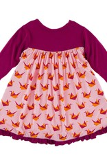 Kickee Pants Print Classic LS Swing Dress Lotus Origami Crane