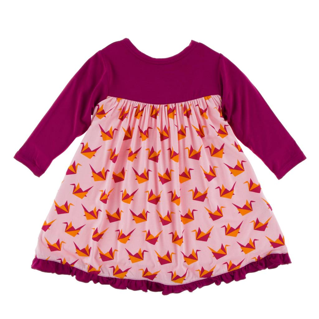 62c3107d62422 Print Classic LS Swing Dress Lotus Origami Crane - little orange fish