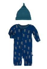 Kickee Pants Print Converter & Knot Hat Set Navy Lantern Festival