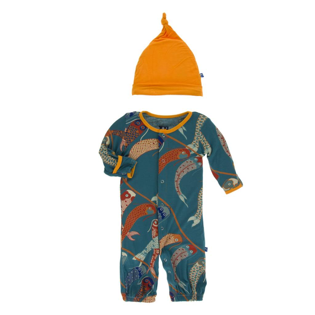 Kickee Pants Print Converter & Knot Hat Set Oasis Koinobori