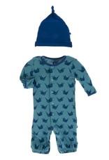 Kickee Pants Print Converter & Knot Hat Set Seagrass Origami Crane