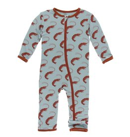 Kickee Pants Print Coverall w Zipper Jade Shrimp