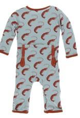 Kickee Pants Print Coverall w Zipper Jade Shrimp