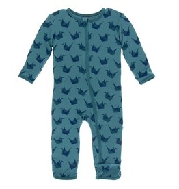 Kickee Pants Print Coverall w Zipper Seagrass Origami Crane