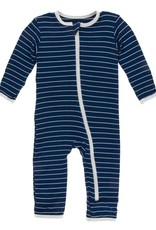 Kickee Pants Print Coverall w Zipper Tokyo Navy Stripe