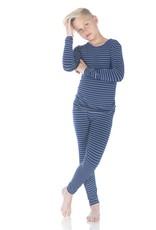 Kickee Pants Print LS Pajama Set Tokyo Navy Stripe