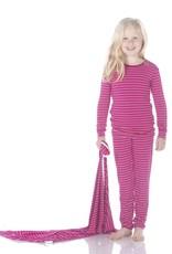 Kickee Pants Print LS Pajama Set Tokyo Dragonfruit Stripe