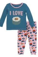Kickee Pants Print LS Pajama Set Lotus Sushi