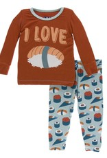 Kickee Pants Print LS Pajama Set Jade Sushi