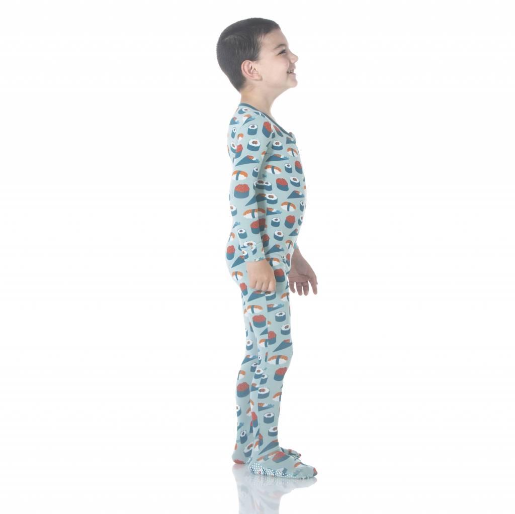 Kickee Pants Print Footie w Zipper Jade Sushi