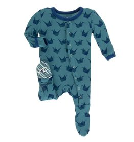 Kickee Pants Print Footie w Snaps Seagrass Origami Crane