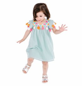 Masala Baby Zuri Dress Metallic Stripe Aqua
