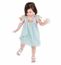 Masala Baby Zuri Dress Metallic Stripe Aqua