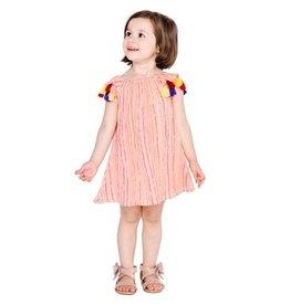 Masala Baby Sundancer Dress Metallic Stripe Peach