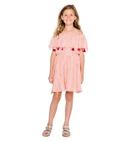 Masala Baby Funfair Dress Metallic Stripe Peach