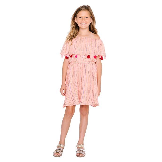 4fa40126fba6 Funfair Dress Metallic Stripe Peach - little orange fish