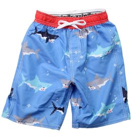 Wes And Willy Bitmap Sharks Trunk UC Blue