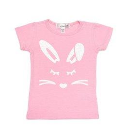 Sweet Wink Girl Bunny Face SS Shirt Pink