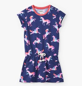 Hatley Rainbow Unicorns Front Pocket Drop Waist Dress