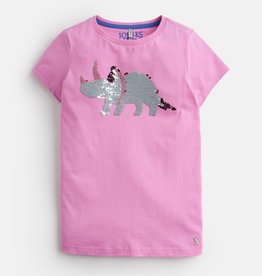 Joules Astra Shirt Pink Sequin Dino