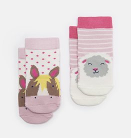 Joules Neat Feet G Pink Horse Sheep Socks