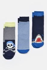 Joules Brilliant Bamboo B Navy Stripe Skull Socks