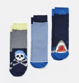 Joules Brilliant Bamboo B Navy Stripe Skull Socks