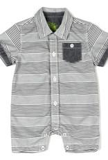 Kapital K B & W Stripe Button-Down Romper