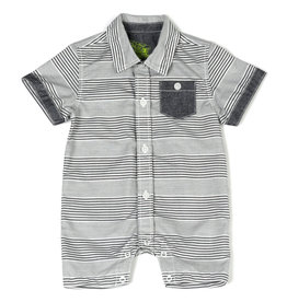 Kapital K B & W Stripe Button-Down Romper