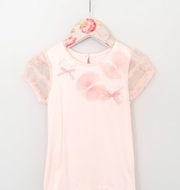 MaeLi Rose Peach Puff Sleeve Top