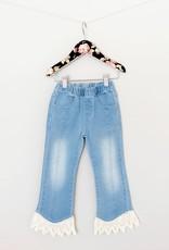 MaeLi Rose Crochet Hem Blue Jeans