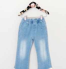 MaeLi Rose Crochet Hem Blue Jeans